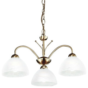Milanese 3-Light Chain Pendant With Alabaster Glass, Antique Brass