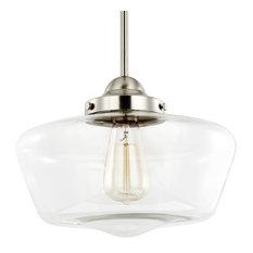 Most popular schoolhouse pendant lights for 2018 houzz light society portola schoolhouse satin nickel and clear glass pendant light pendant lighting aloadofball Image collections