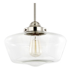 50 most popular schoolhouse pendant lights for 2018 houzz light society portola schoolhouse satin nickel and clear glass pendant light pendant lighting aloadofball Gallery