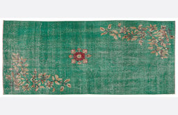 Vintage Green Handmade Overdyed Rug by Unique Rug Store