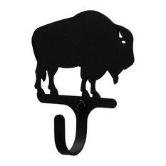 Wrought Iron Buffalo Decorative Wall Hook Small