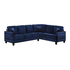 Meridian Furniture - Ferrara Velvet 2 Piece Sectional (LAF and RAF) Navy -  sc 1 st  Houzz : velvet sectional - Sectionals, Sofas & Couches