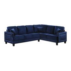 Meridian Furniture USA - Ferrara Velvet 2 Piece Sectional (LAF and RAF),  Navy