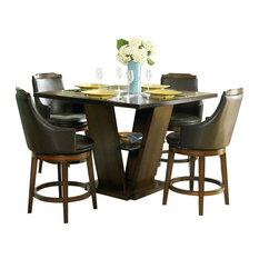 Homelegance Bayshore 5-Piece Pedestal Counter Height Table Set in Oak