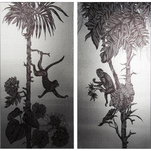 Monkey Mayhem Metallic Printed Canvas, 40x80 cm