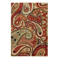 "Orian Wild Weave Paisley Shag Area Rug, 5'3""x7'6"", Multicolor"