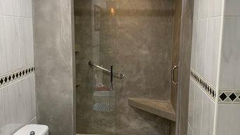 Cambio de bañera por plato de ducha en microcemento