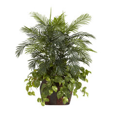 Nearly Natural 3.5' Double Areca With Vase And Pothos Silk Plant Green