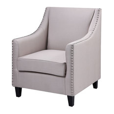 Upholstered Fabric Living Room Accent Chair Taupe
