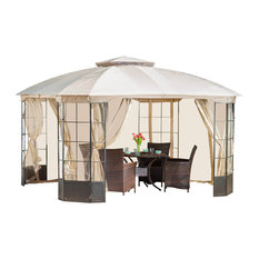 GDF Studio Somerset Outdoor Steel Gazebo Canopy With Tan Cover