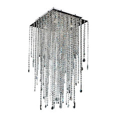 "Crystal Long Square Flush Mount - Cityscape 598MC, 18"" W"