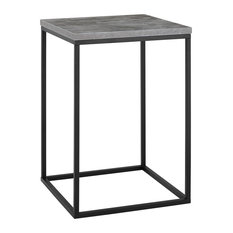 """16"""" Modern Square Open Side Table with Metal Base, Dark Concrete"""