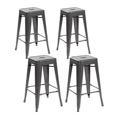 Set Of 4 Metal Backless Stackable Cafe Chairs Matte Silver Black