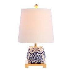 """Justina 16"""" Ceramic Mini Table Lamp, Blue/White"""