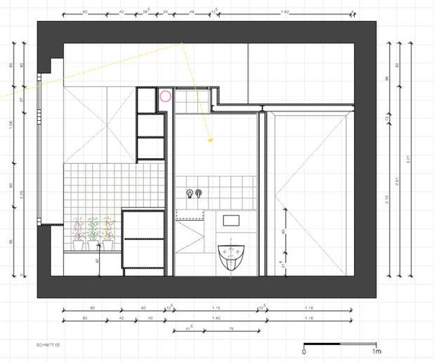Prospetto interno Schnitt Mini Wohnung in Moabit, Bad/Küche