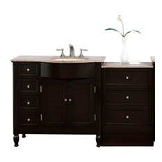 Espresso Bathroom Vanity Cabinet, Choice of Single or Double Sink, Sink on the R