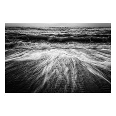 """""""Washing Out to Sea Black and White"""" Nature Photo Unframed Wall Art Print, 20""""x2"""