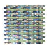"""12.5""""x13.6"""" Woven Baize Glass Mosaic Tiles, Set of 5, Blue"""