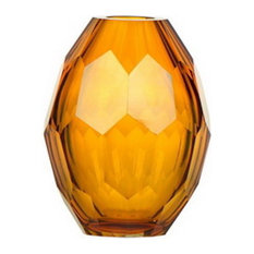 Diamond Solid Color Hand Blown Art Glass Vase, Gift Box, Amber