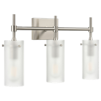 Effimero 3-Light Wall Sconce, Brushed Nickel With Frosted Glass