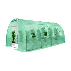 Farmhouse Greenhouse, Large Walk Tunnel Design With Roll Up Door and Window