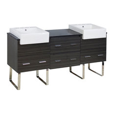 "68.75""18"" D Modern Plywood-Melamine Vanity Base Set Only in Dawn Gray"