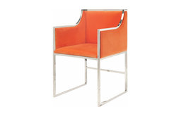 Worlds Away Anabelle Dining Chair, Orange/Nickel