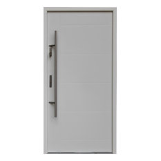Ville Doors   Stainless Steel Modern Entry Door, White/Blue Finish   Front  Doors