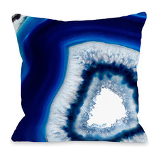 """Geode Abyss Silver"" Outdoor Throw Pillow by OneBellaCasa, 16""x16"""