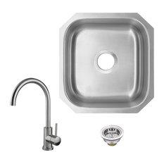 18-Gauge Stainless Steel Single Bowl Bar Sink With Gooseneck Kitchen Faucet