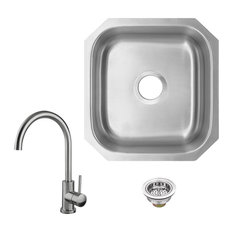 18-Gauge Stainless Steel Single Bowl Bar Sink With Gooseneck Kitchen Faucet