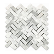 "12""x12"" Carrara White Herringbone Mosaic Tile Polished, Chip Size: 1""x2"""