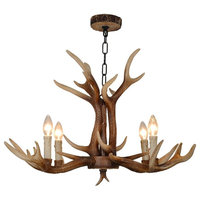 4 Lights American Rural Countryside Style Antler Chandeliers