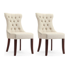 1st Avenue - Dorchester Natural Linen Tufted Dining Chairs With Nailhead Trim, Set of 2 - Dining Chairs