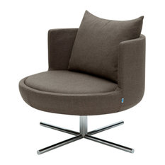 Round Lounge Chair, White Leatherette