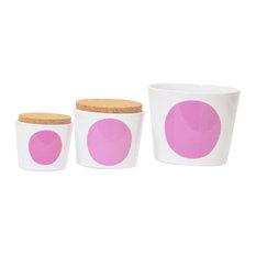 """I Want More"" Bowls, 3-Piece Set, Pink"
