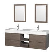 "72"" Double Vanity, Gray Oak, Acrylic Resin Top, Integrated Sinks, 24"" Mirrors"