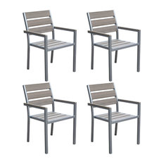 CorLiving Gallant Sun Bleached Gray Outdoor Dining Chairs, Set of 4
