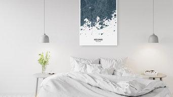 Постер с картой Хельсинки
