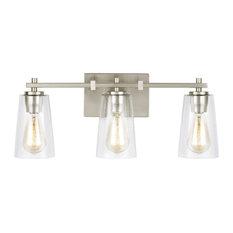 """Feiss VS24303 Mercer 3 Light 21-1/2""""W Bathroom Vanity Light - Nickel"""