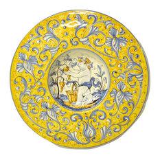 """Gubbio Ceramiche Rinascimento 11"""" Cappello da Prete Plate, Grape Harvester"""