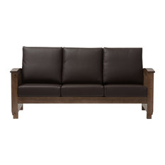 Mission Style Walnut Brown Wood, Dark Brown Faux Leather 3-Seater Sofa