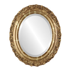 """Venice Framed Oval Mirror in Champagne Gold, 29""""x35"""""""