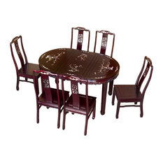 58-inch Rosewood Bird And Flower Design Oval Table With 6 Chairs