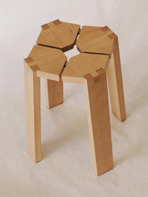 Tabouret en hêtre massif - Chaise Pliante et Tabouret