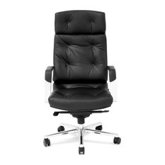 Perot Genuine Leather Aluminum Base High Back Executive Chair - Black