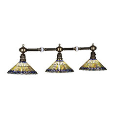 Meyda Lighting Home Decorative Tiffany Jeweled Peacock 3-Light Island Pendant