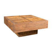 VidaXL Antique Style Square Mango Wood Coffee Table, Brown
