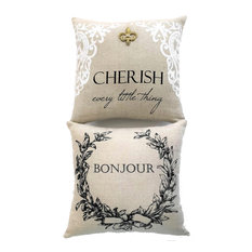 Bonjour French Linen Double sided Pillow With Gold Fleur di Lis Removable Pin