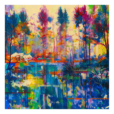 """""""Blue and Green Reflections"""" Canvas Print by Doug Eaton, 85x85 cm"""